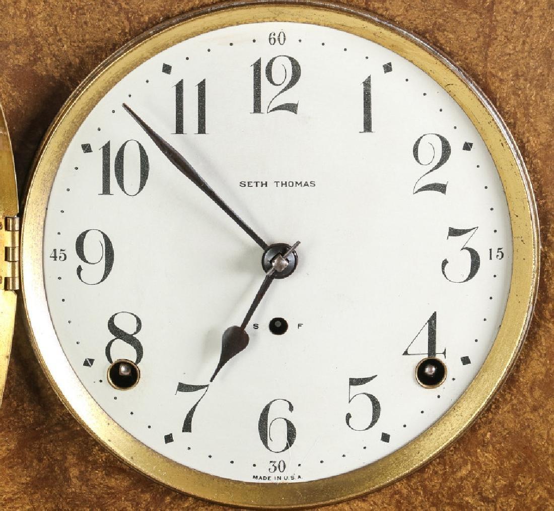 A SETH THOMAS ADAMANTINE FINISH MANTEL CLOCK - 6