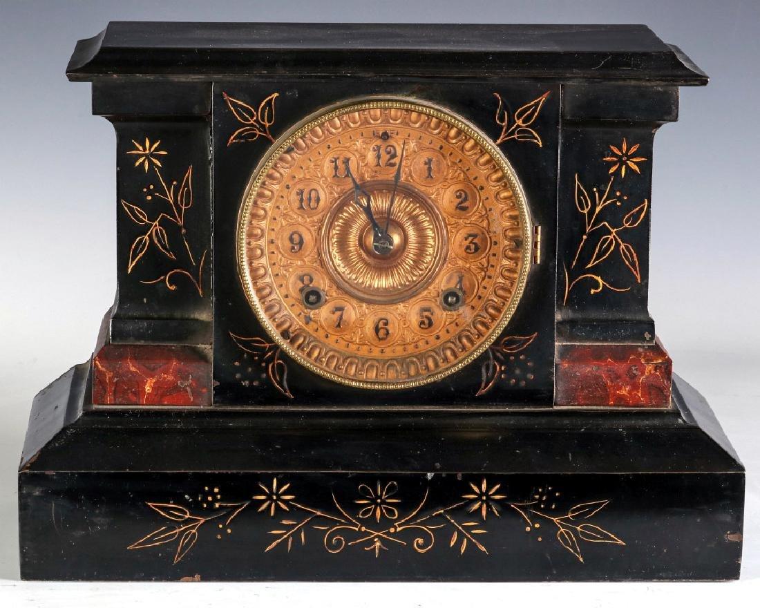 AN ANSONIA 'AETNA' ENAMELED IRON CASE MANTLE CLOCK