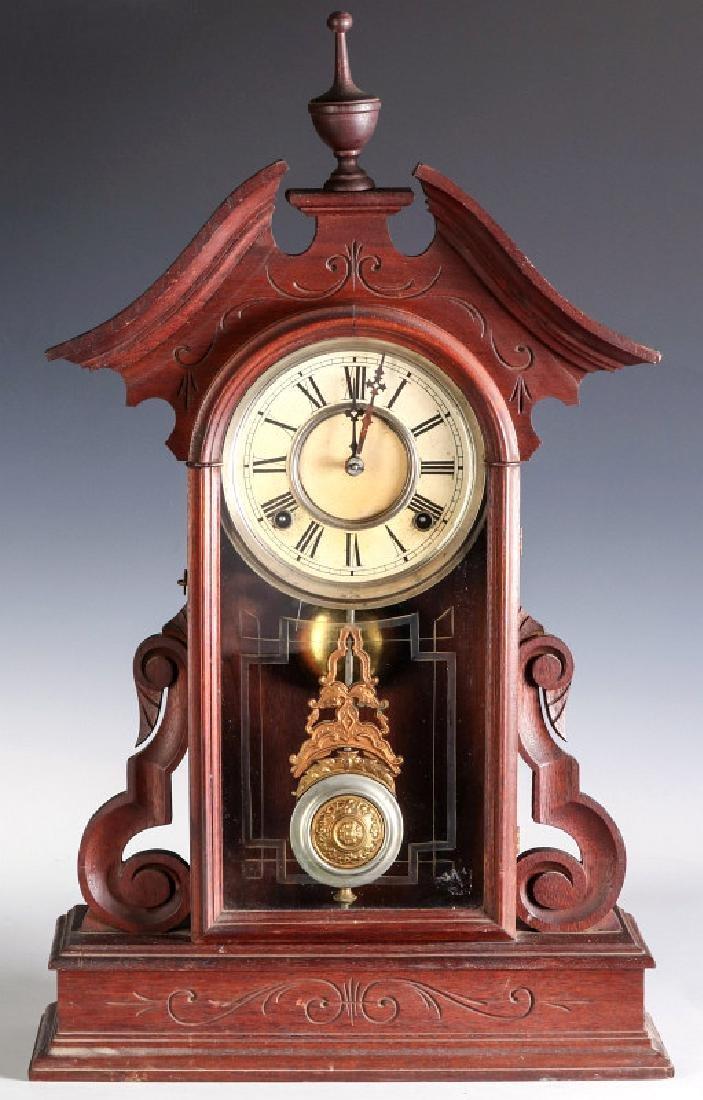 AN ORNATE VICTORIAN WALNUT PARLOR CLOCK ATTR OWEN