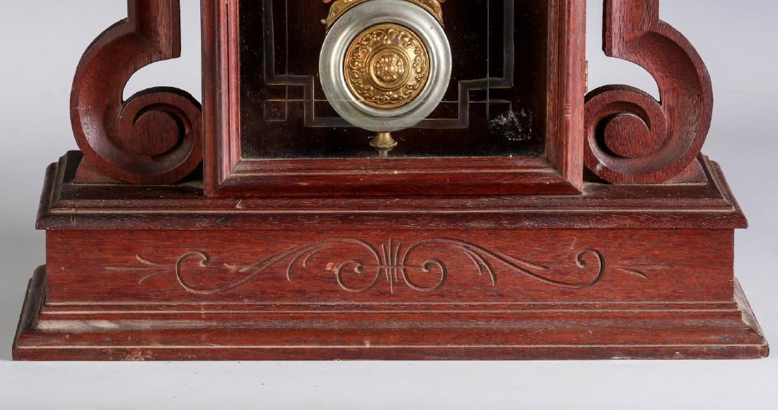 AN ORNATE VICTORIAN WALNUT PARLOR CLOCK ATTR OWEN - 5