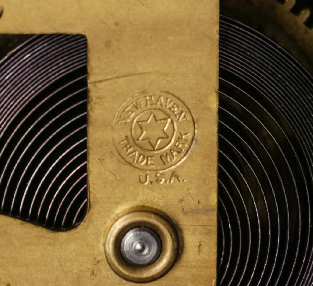 AN ORNATE NEW HAVEN BRASS CASE CLOCK - 10