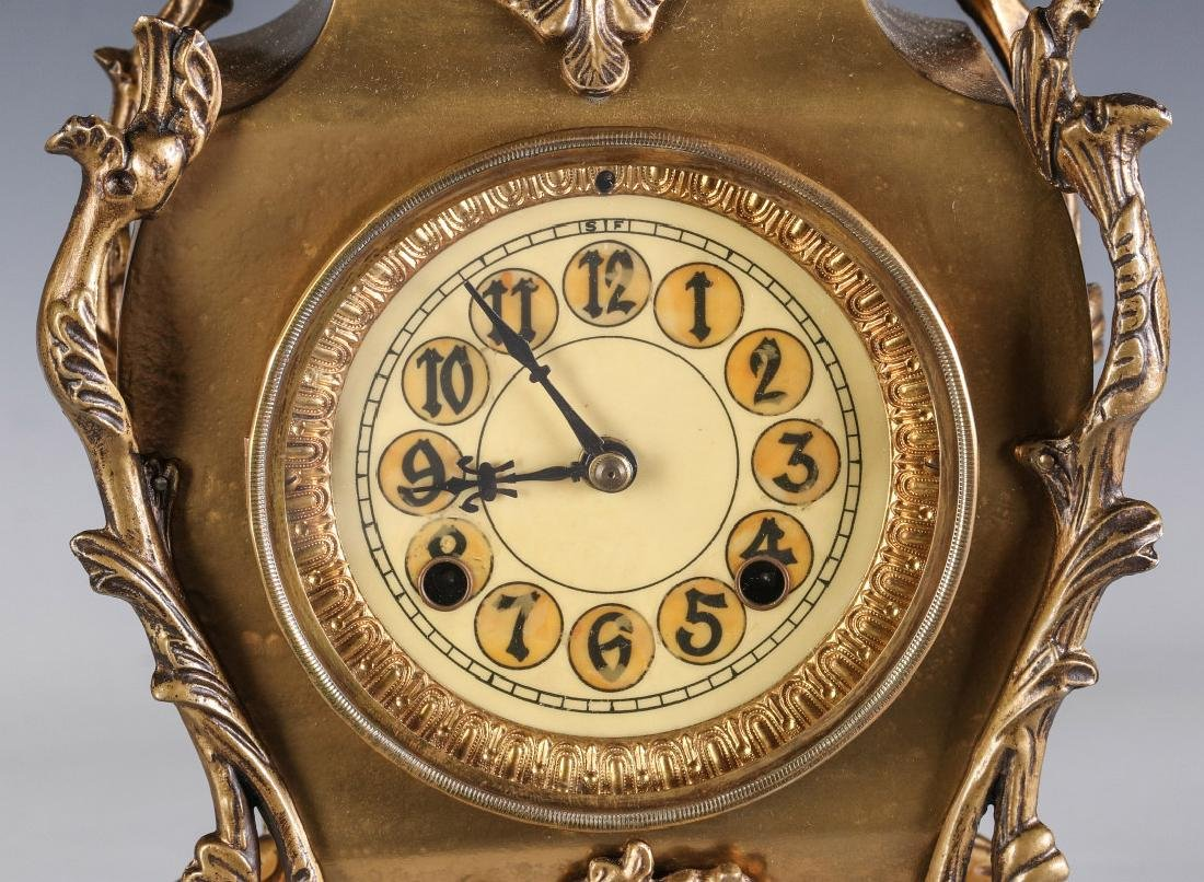AN ORNATE NEW HAVEN BRASS CASE CLOCK - 3