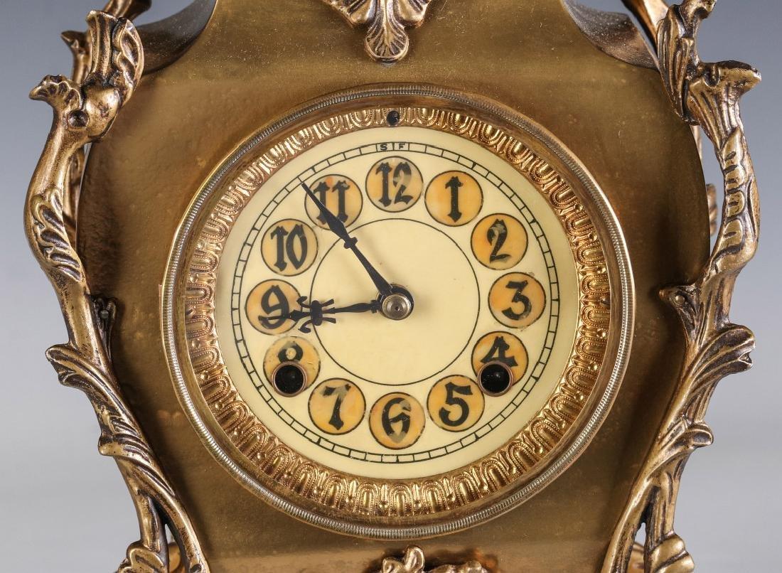 AN ORNATE NEW HAVEN BRASS CASE CLOCK - 3