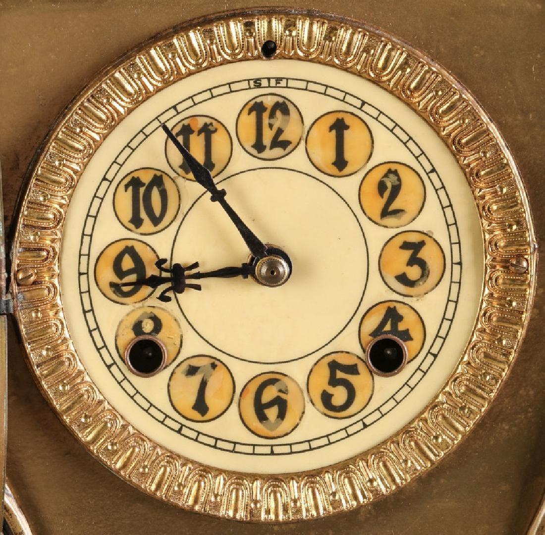 AN ORNATE NEW HAVEN BRASS CASE CLOCK - 5