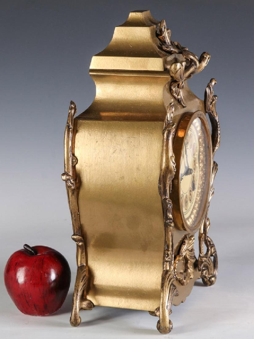 AN ORNATE NEW HAVEN BRASS CASE CLOCK - 7