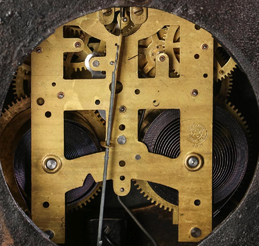 AN ORNATE NEW HAVEN BRASS CASE CLOCK - 9