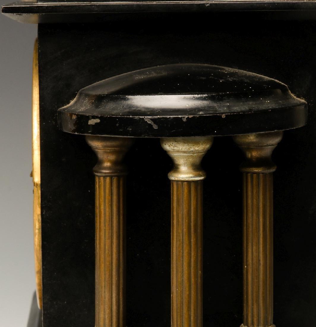 AN ANSONIA BLACK ENAMEL SHELF CLOCK AS FOUND - 10