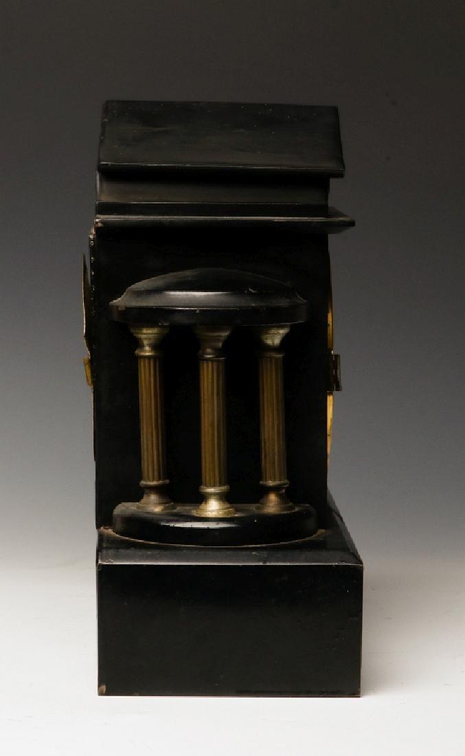 AN ANSONIA BLACK ENAMEL SHELF CLOCK AS FOUND - 2