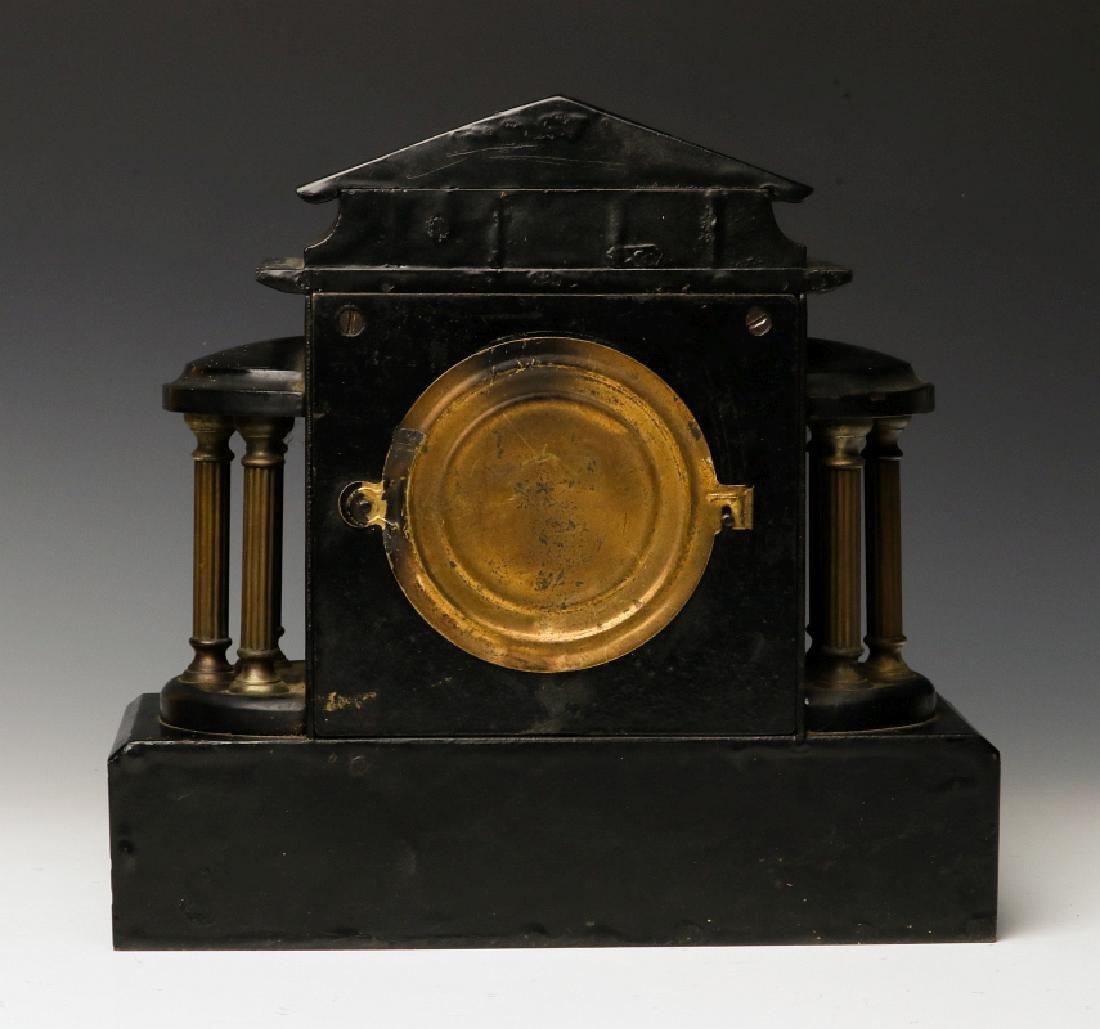 AN ANSONIA BLACK ENAMEL SHELF CLOCK AS FOUND - 3