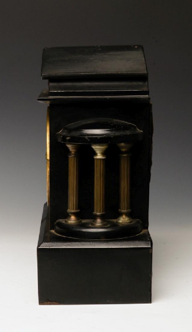AN ANSONIA BLACK ENAMEL SHELF CLOCK AS FOUND - 4
