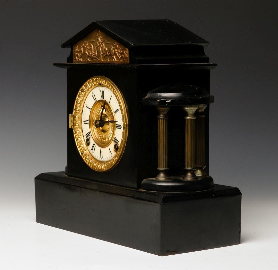 AN ANSONIA BLACK ENAMEL SHELF CLOCK AS FOUND - 5