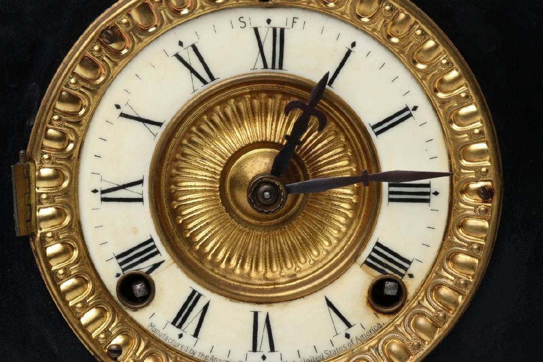 AN ANSONIA BLACK ENAMEL SHELF CLOCK AS FOUND - 8