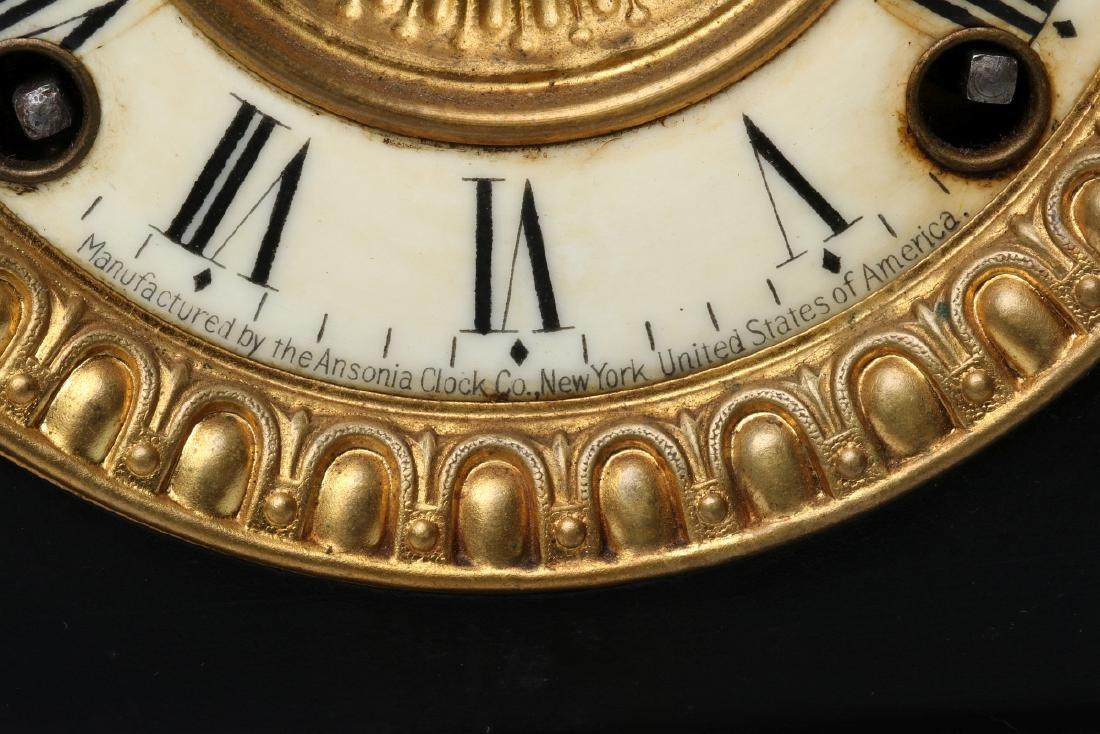 AN ANSONIA BLACK ENAMEL SHELF CLOCK AS FOUND - 9
