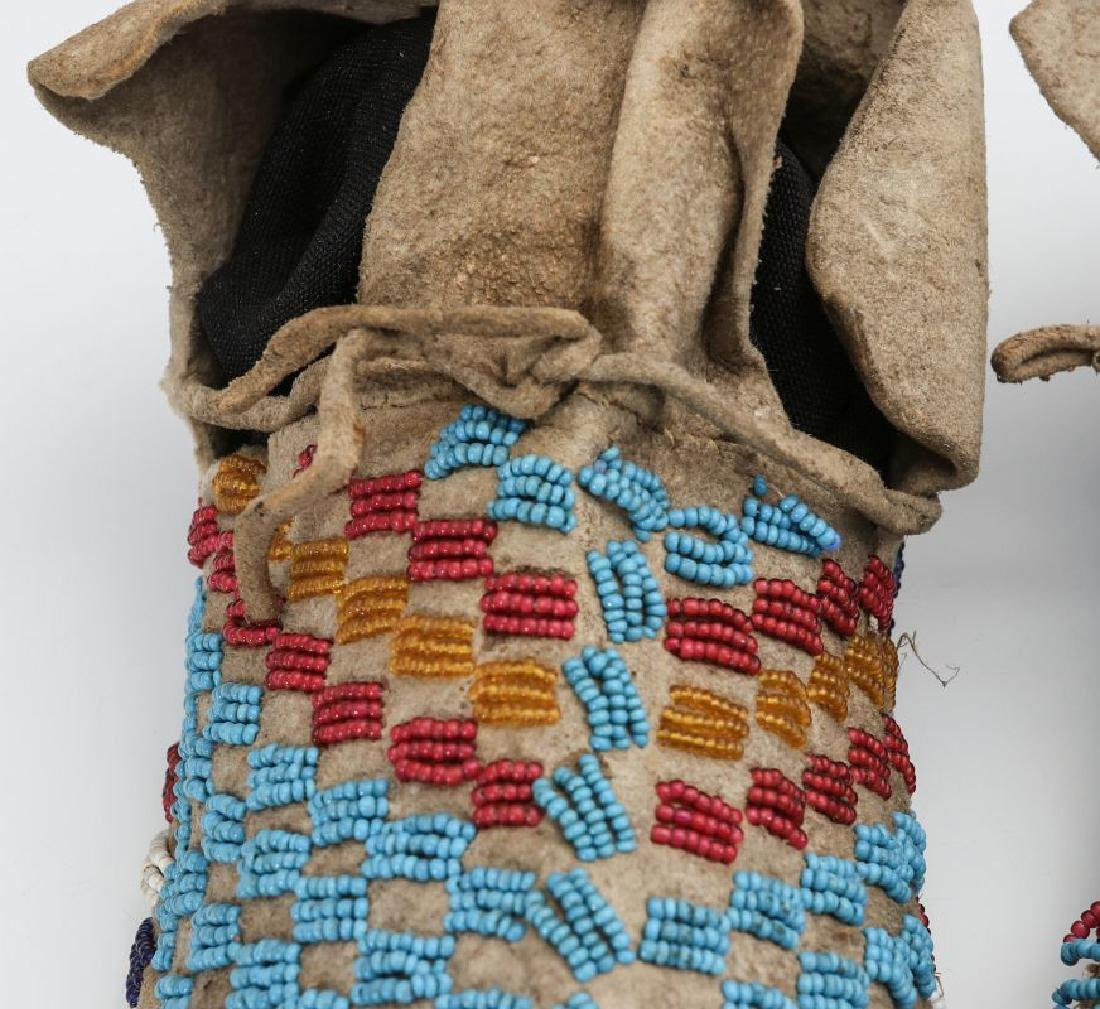 A PAIR NATIVE AMERICAN SINEW SEWN MOCCASINS C 1900 - 3