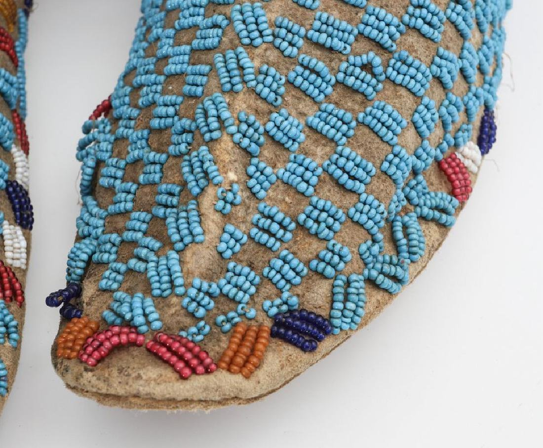 A PAIR NATIVE AMERICAN SINEW SEWN MOCCASINS C 1900 - 5