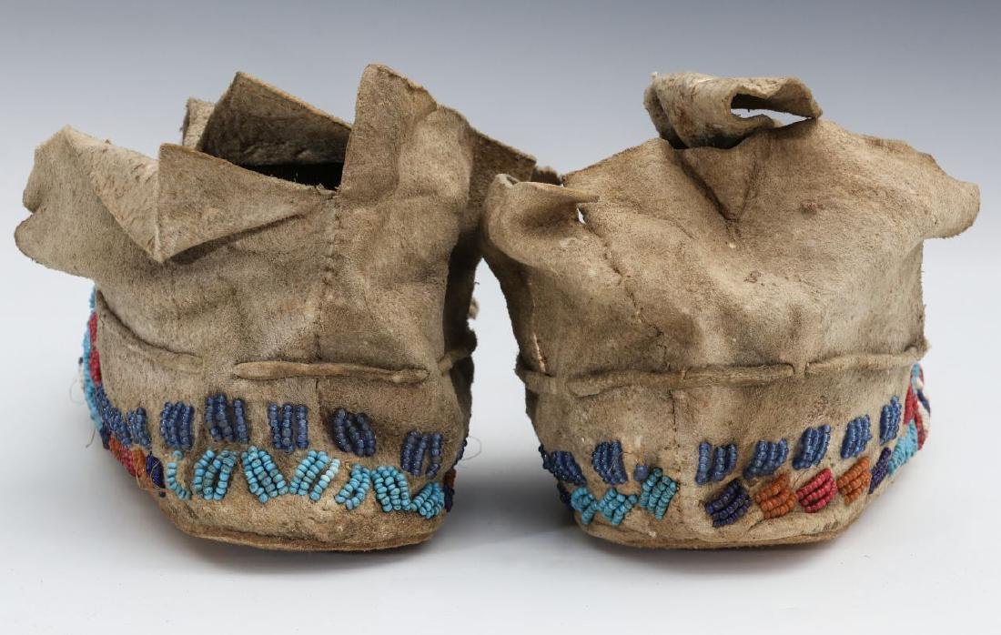 A PAIR NATIVE AMERICAN SINEW SEWN MOCCASINS C 1900 - 8
