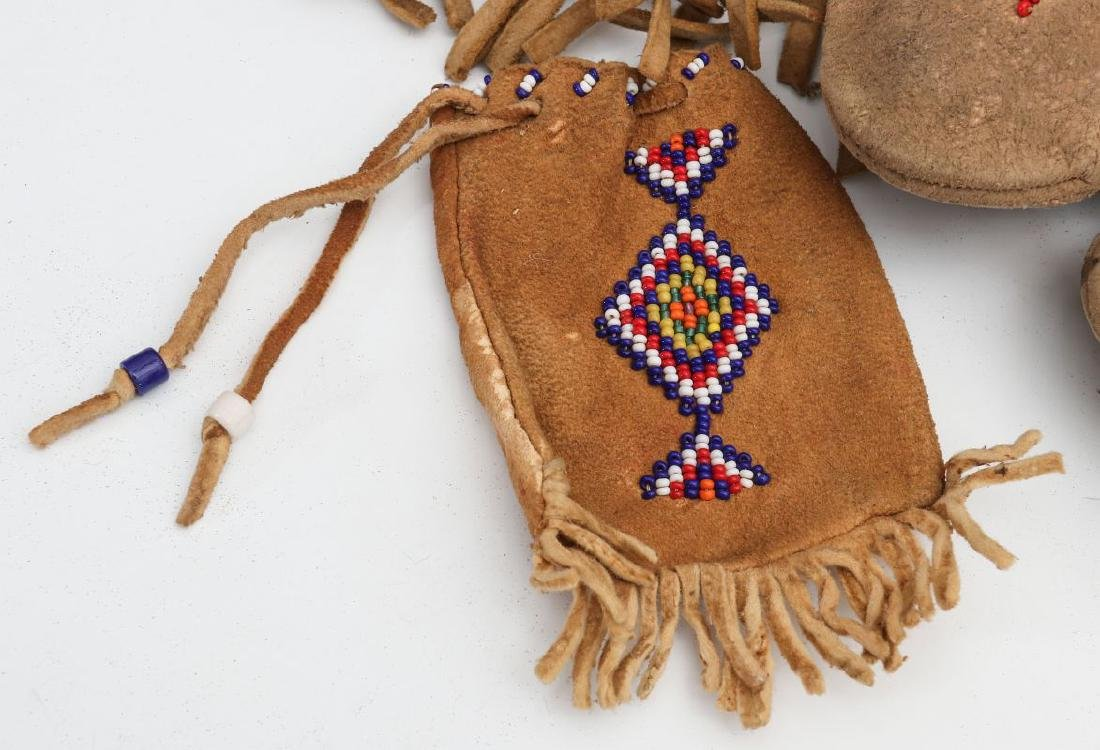 NATIVE AMERICAN BEADED HIDE POUCH AND MOCCASINS - 2