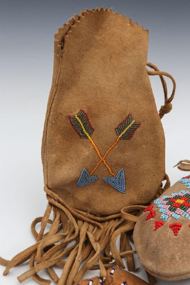 NATIVE AMERICAN BEADED HIDE POUCH AND MOCCASINS - 3