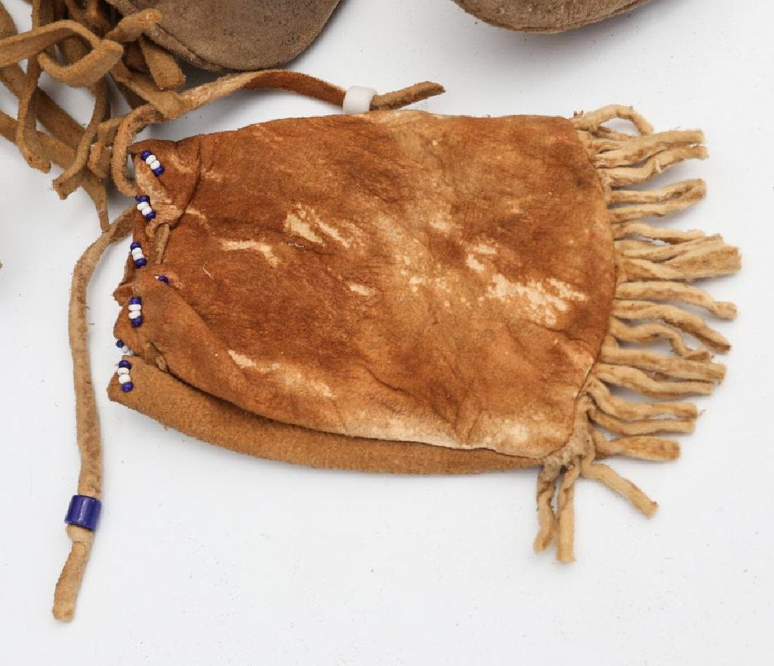 NATIVE AMERICAN BEADED HIDE POUCH AND MOCCASINS - 7