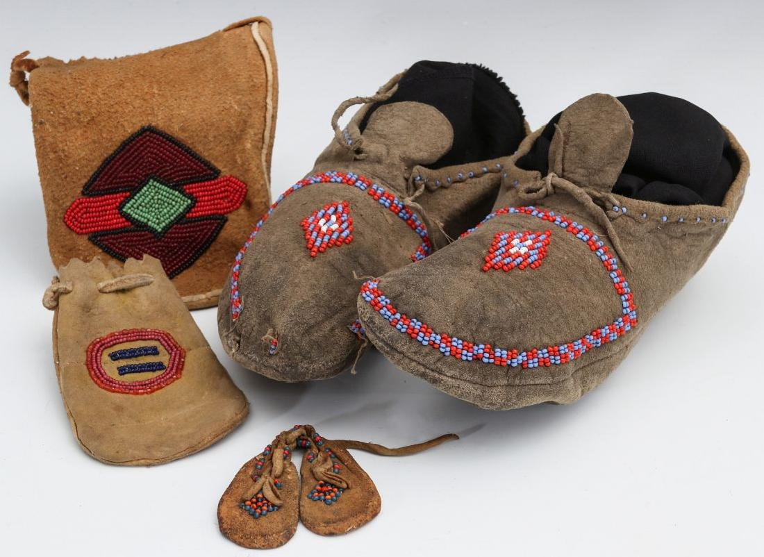 EARLY 20TH C. NATIVE AMERICAN BEADED HIDE ITEMS