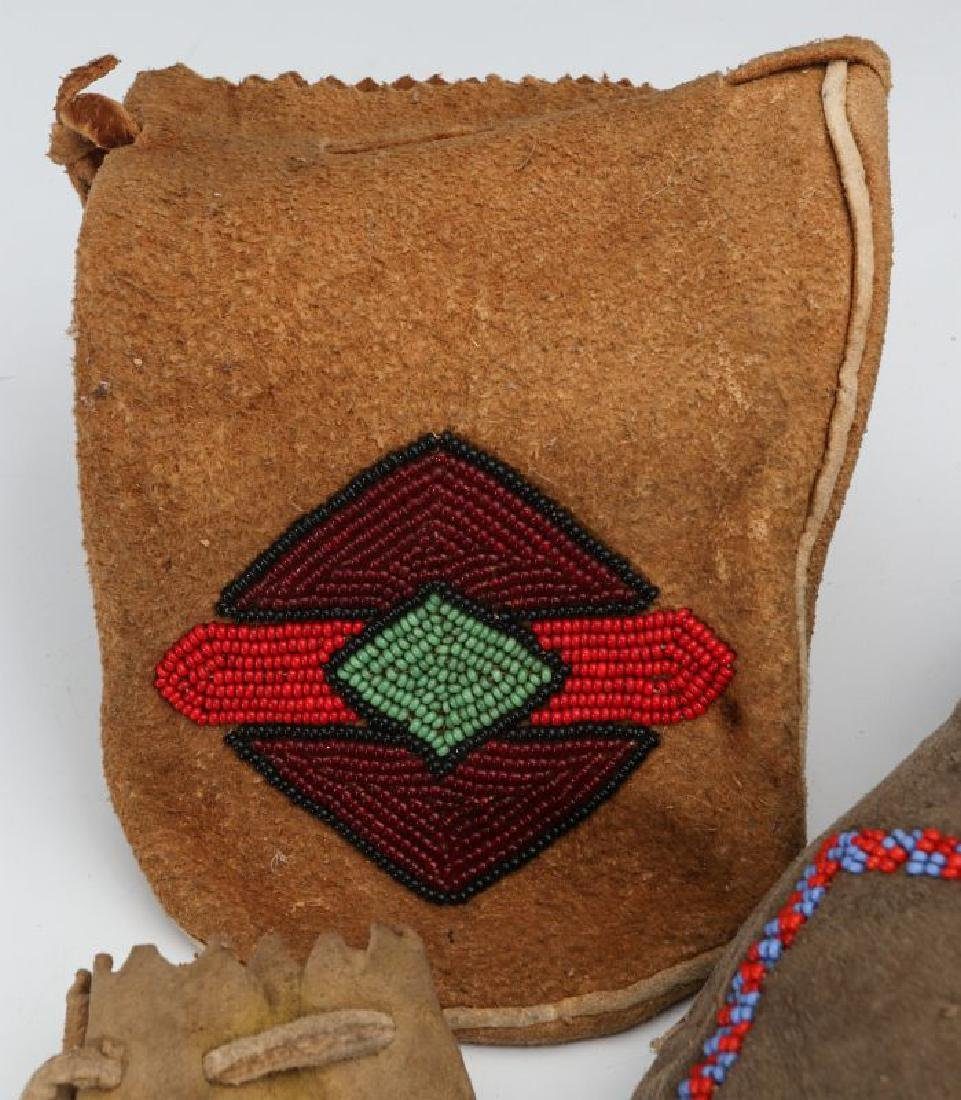 EARLY 20TH C. NATIVE AMERICAN BEADED HIDE ITEMS - 4