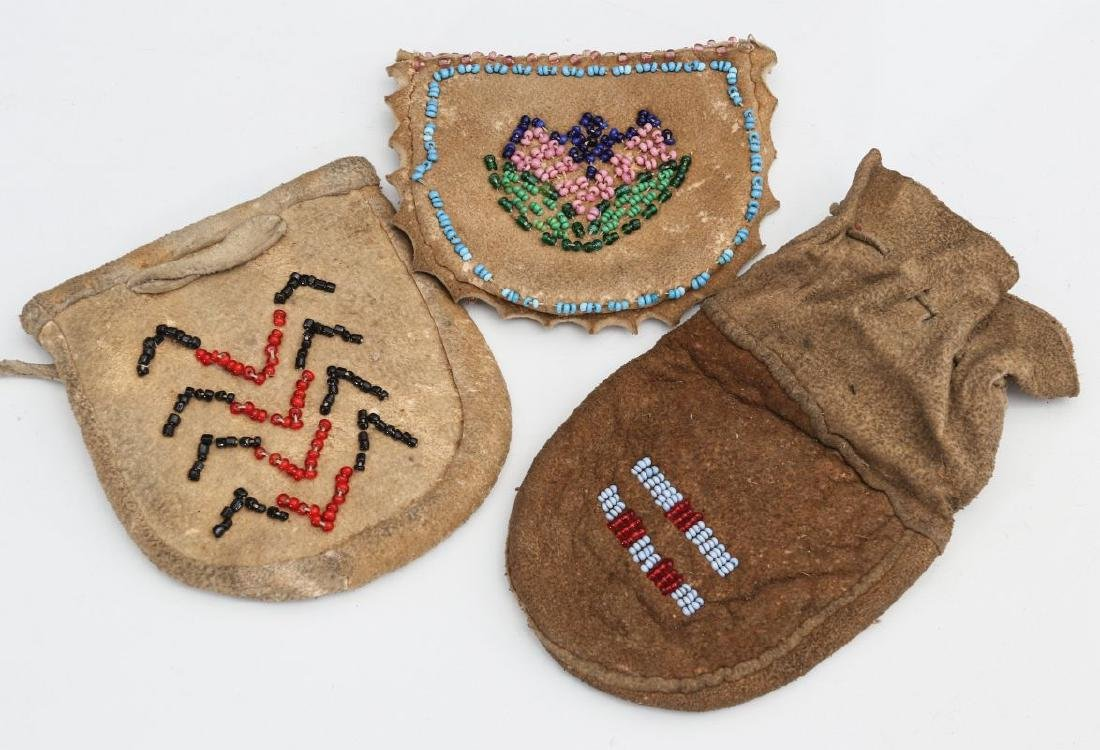 THREE NATIVE AMERICAN BEADED POUCHES