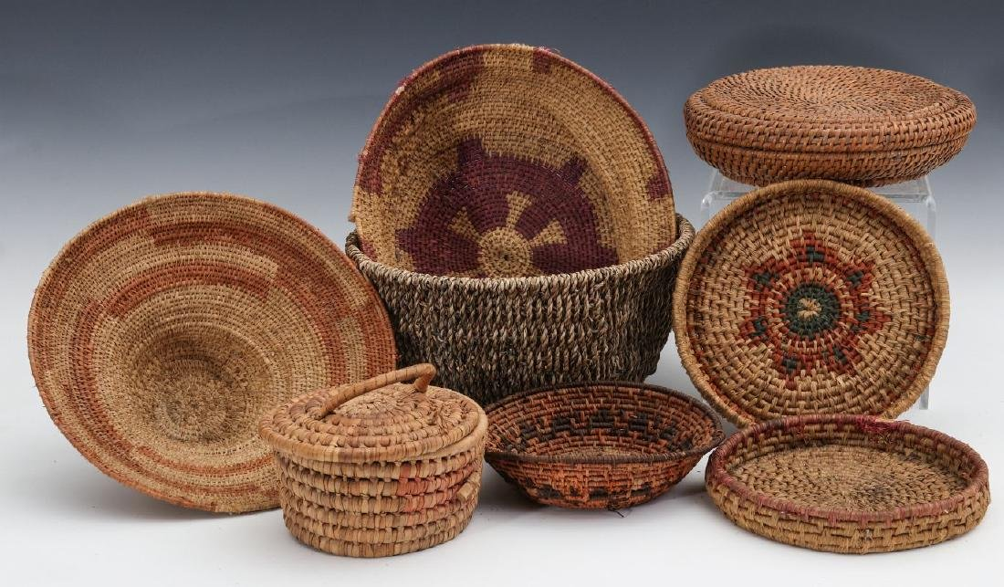 A COLLECTION OF NATIVE MADE BASKETRY
