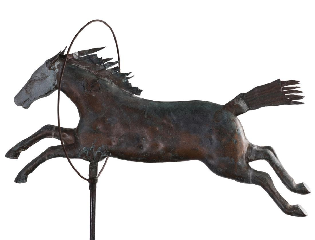 A 19TH CENTURY MOLDED COPPER WEATHERVANE ATTR A.L