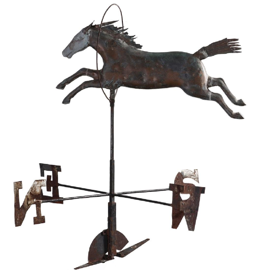 A 19TH CENTURY MOLDED COPPER WEATHERVANE ATTR A.L - 2
