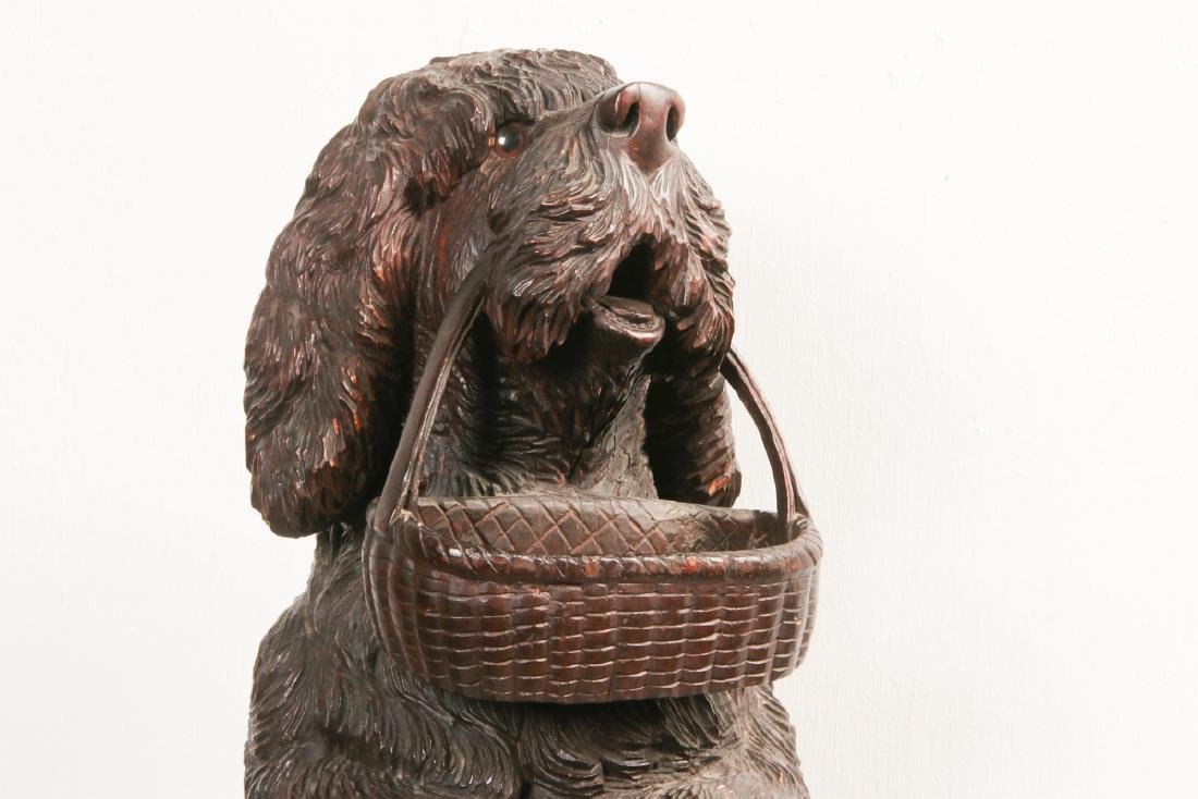 AN EARLY 20TH C BLACK FOREST CARVED DOG CANE STAND - 10
