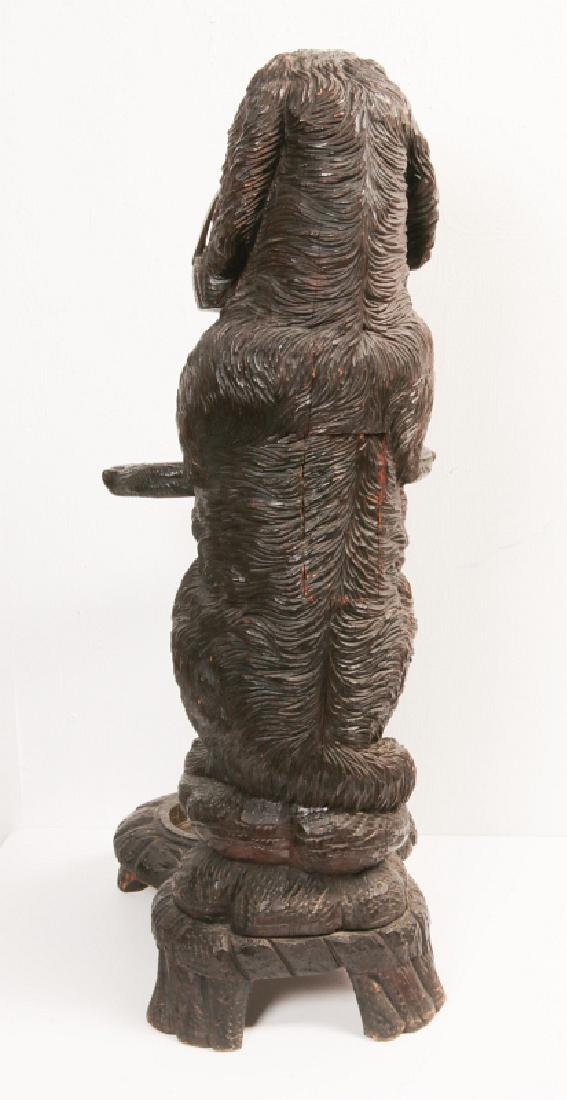 AN EARLY 20TH C BLACK FOREST CARVED DOG CANE STAND - 4