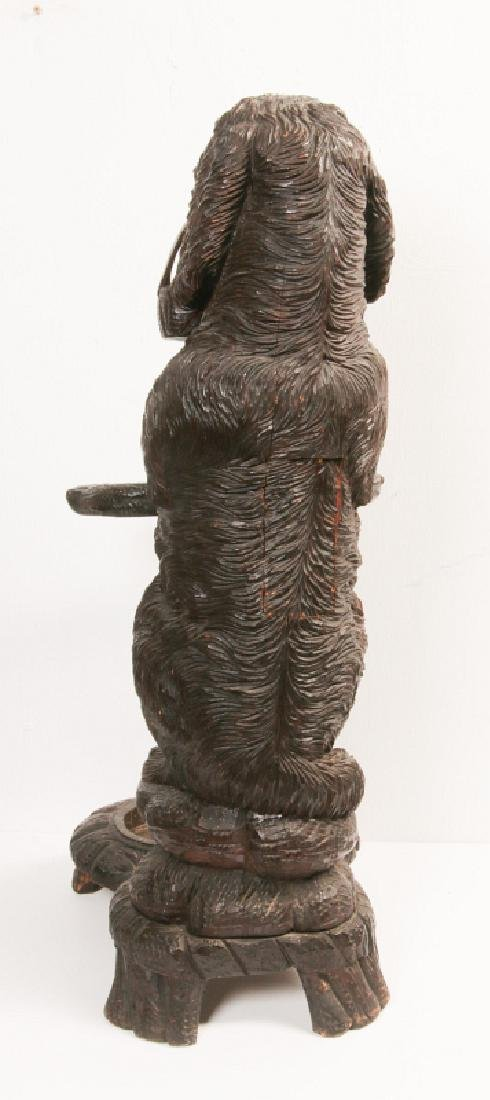 AN EARLY 20TH C BLACK FOREST CARVED DOG CANE STAND - 5