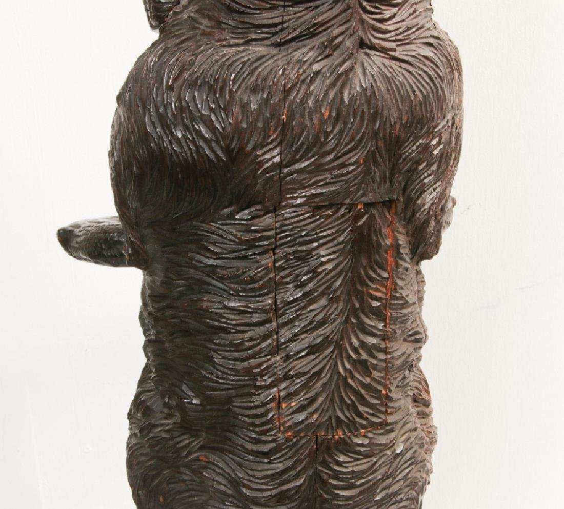 AN EARLY 20TH C BLACK FOREST CARVED DOG CANE STAND - 6