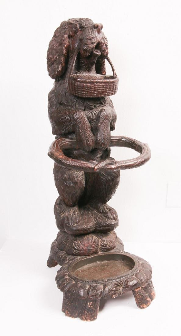 AN EARLY 20TH C BLACK FOREST CARVED DOG CANE STAND - 9