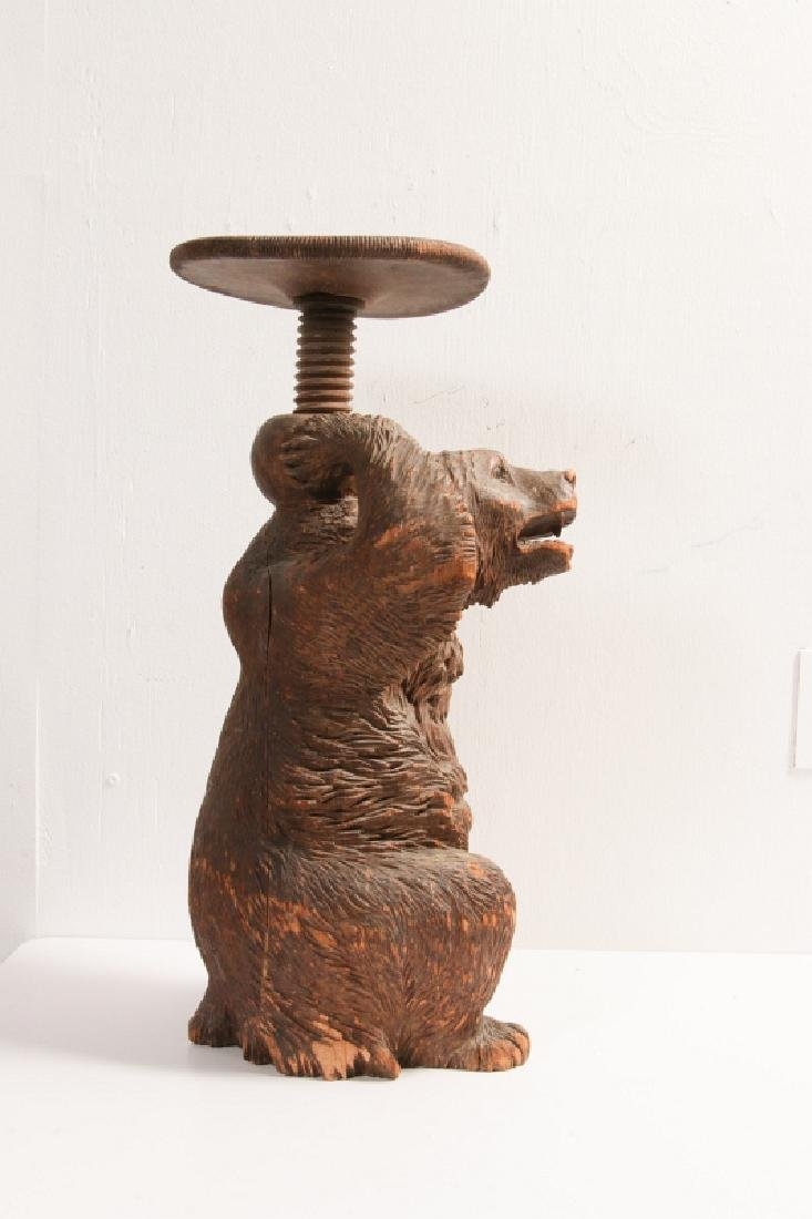 A 19TH CENTURY BLACK FOREST CARVED WOOD BEAR STAND - 3