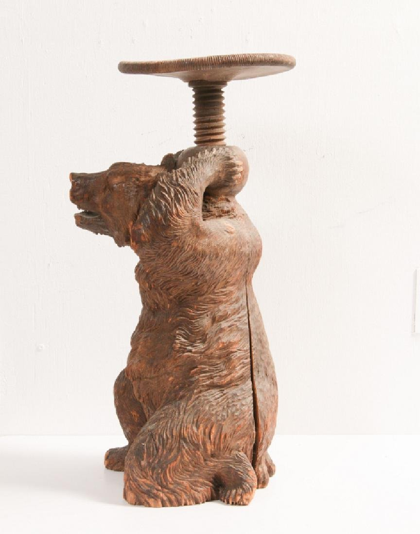 A 19TH CENTURY BLACK FOREST CARVED WOOD BEAR STAND - 6