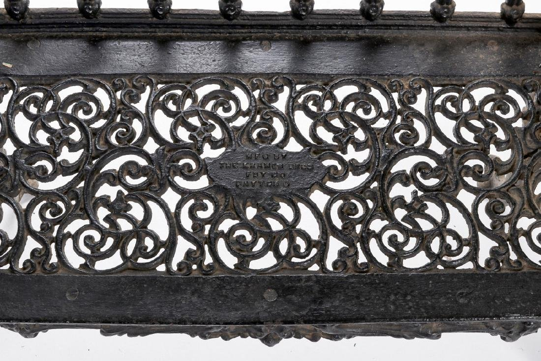 A 'WHITE HOUSE ROSE GARDEN' PATTERN IRON BENCH - 4