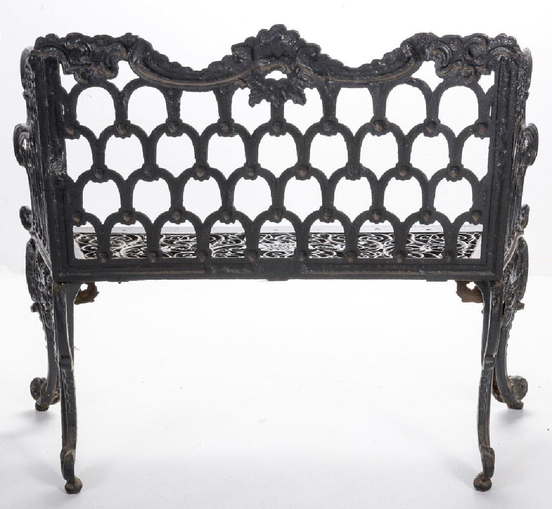 A 'WHITE HOUSE ROSE GARDEN' PATTERN IRON BENCH - 8