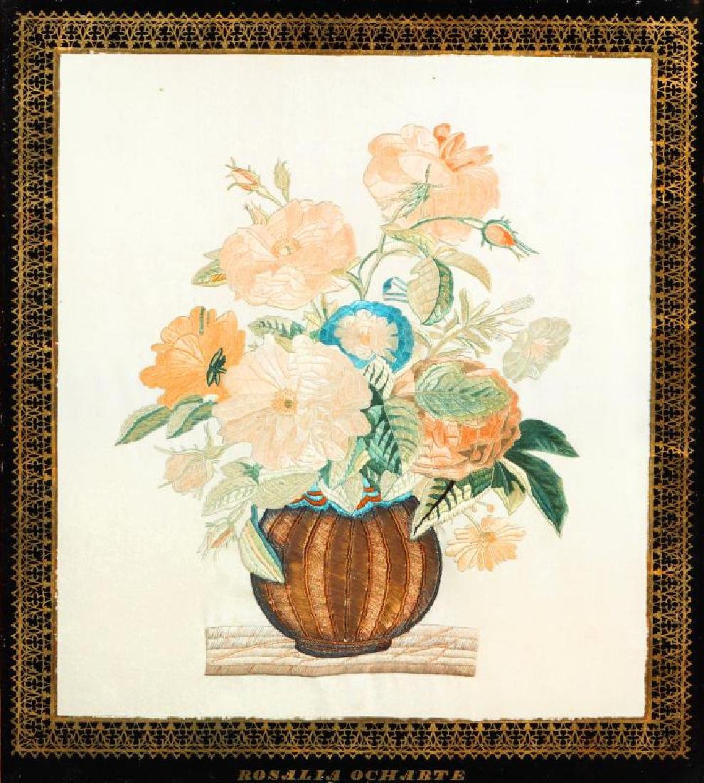 AN ELABORATE 19TH CENTURY FRENCH SILK NEEDLEWORK PANEL