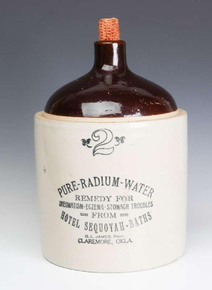A SCARCE RADIUM WATER HOTEL SEQUOYAH ADVTG JUG