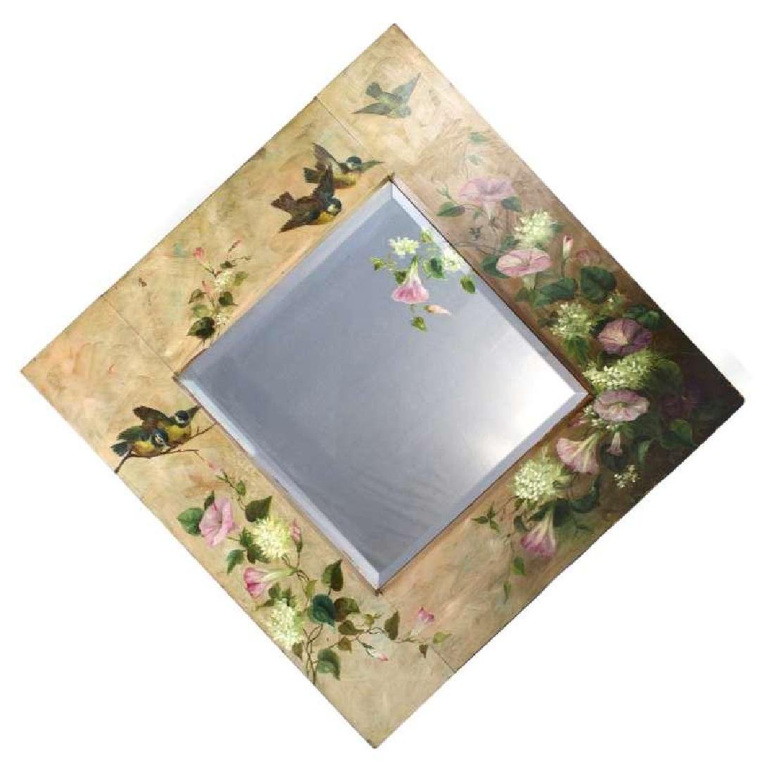 A VICTORIAN PAINTED MIRROR WITH LOVE BIRDS, FLOWER