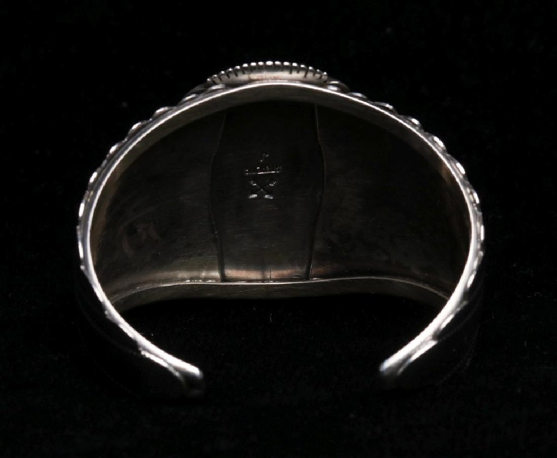 A NAVAJO STERLING AND CORAL CUFF BRACELET - 4