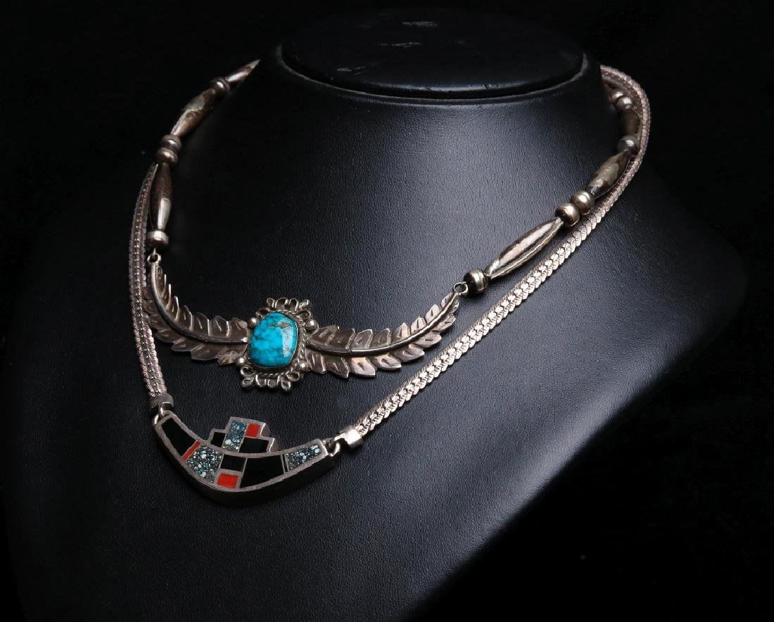NAVAJO AND ZUNI STERLING SILVER CHOKERS
