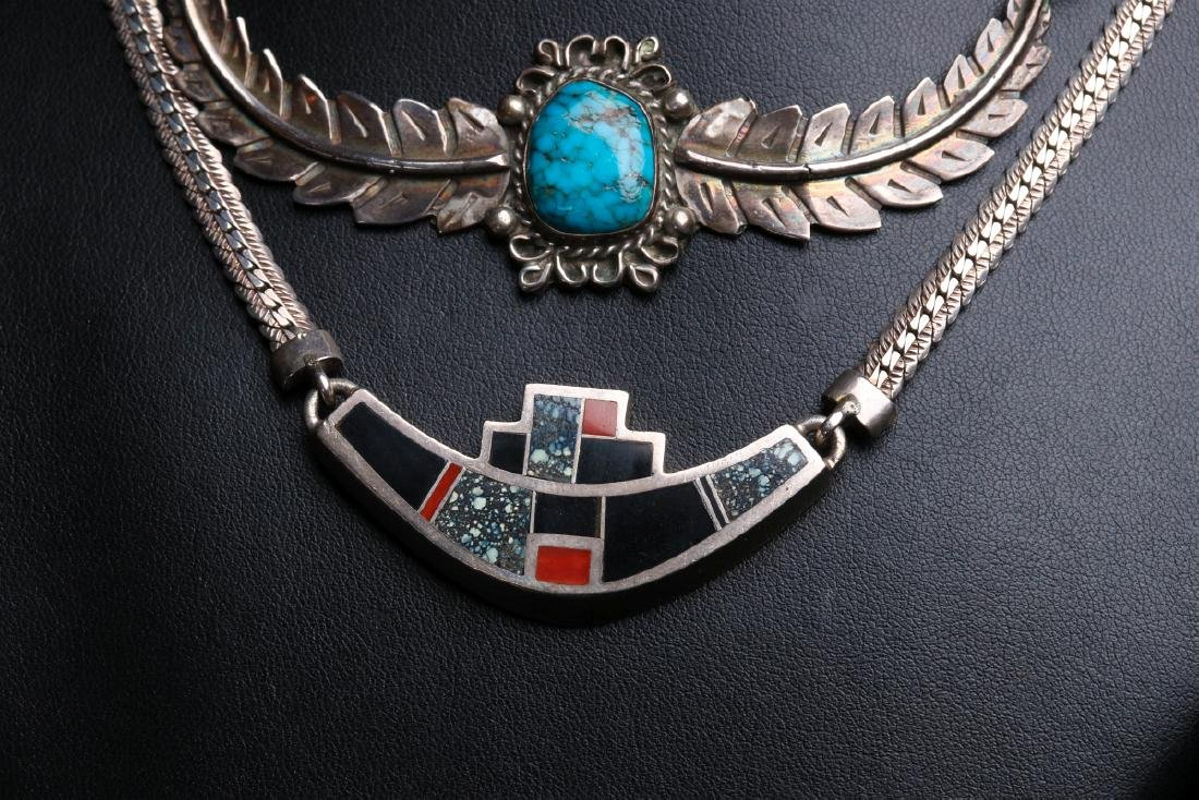 NAVAJO AND ZUNI STERLING SILVER CHOKERS - 2