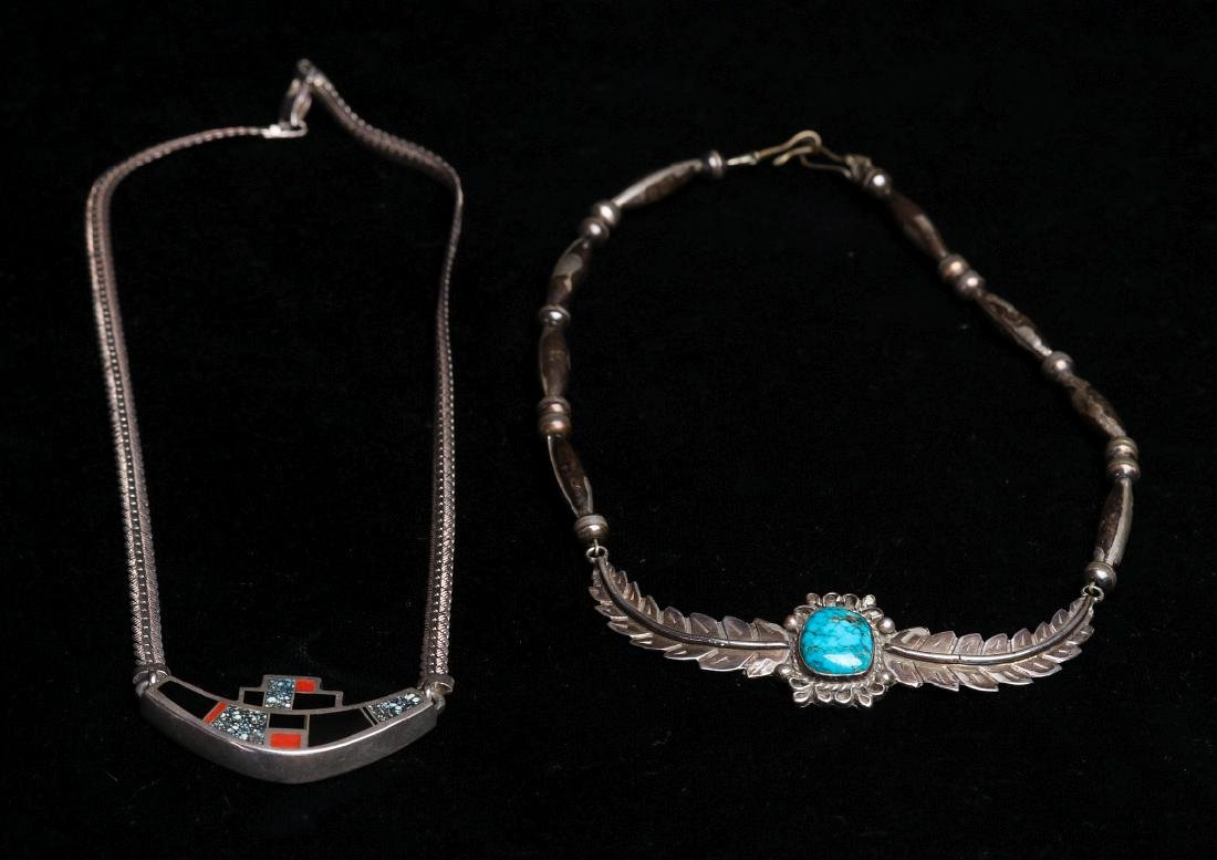 NAVAJO AND ZUNI STERLING SILVER CHOKERS - 9