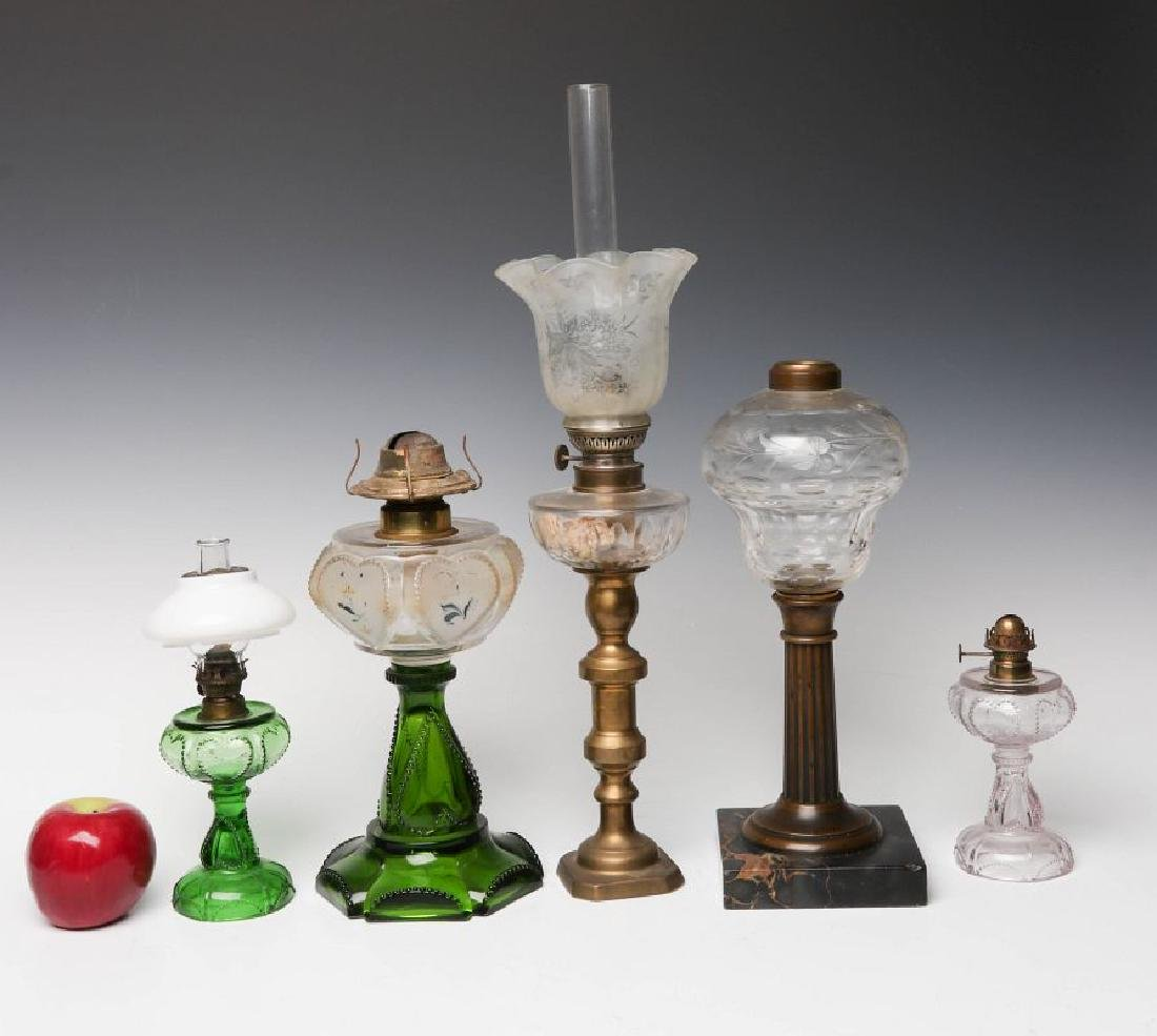HEART MOTIF AND OTHER 19TH CENTURY FLUID LAMPS - 10