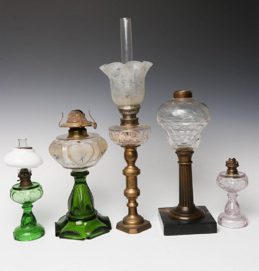 HEART MOTIF AND OTHER 19TH CENTURY FLUID LAMPS - 5