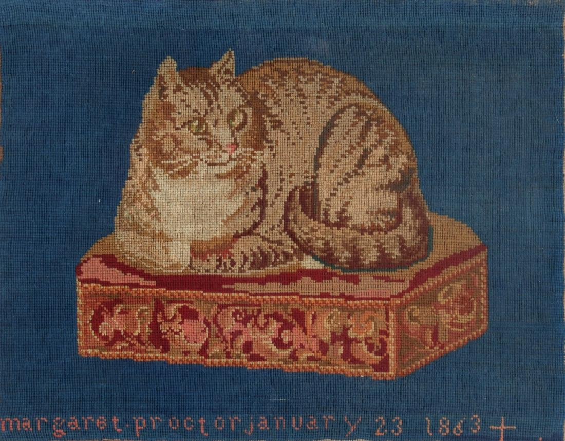 A 19TH CENTURY NEEDLEWORK COMPOSITION OF A CAT 1863