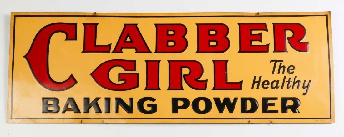 VINTAGE CLABBER GIRL EMBOSSED TIN ADVERTISING SIGN