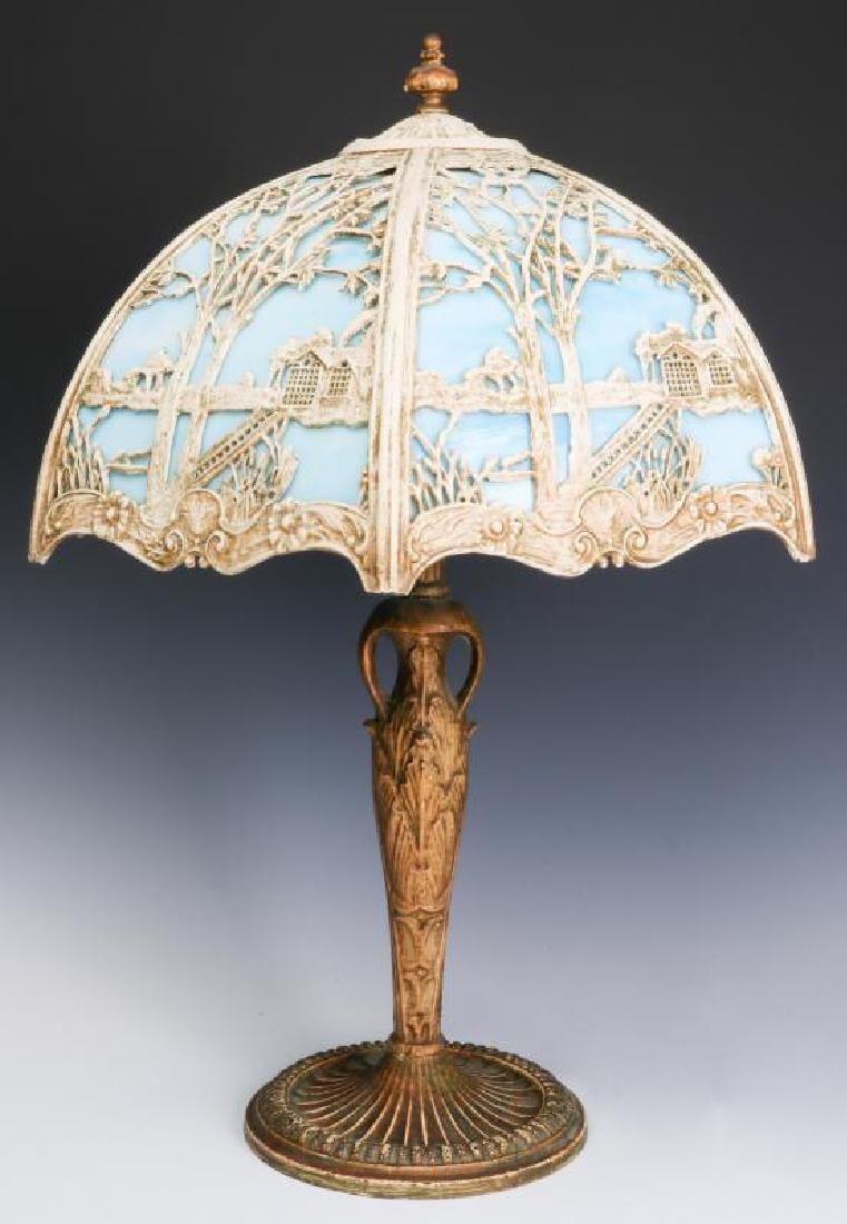 CIRCA 1920s SLAG PANEL LAMP AND PAIR CATLIN LAMPS